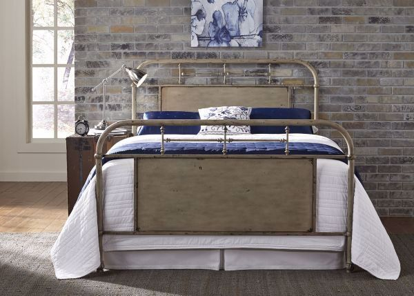 Picture of VINTAGE WHITE QUEEN METAL BED