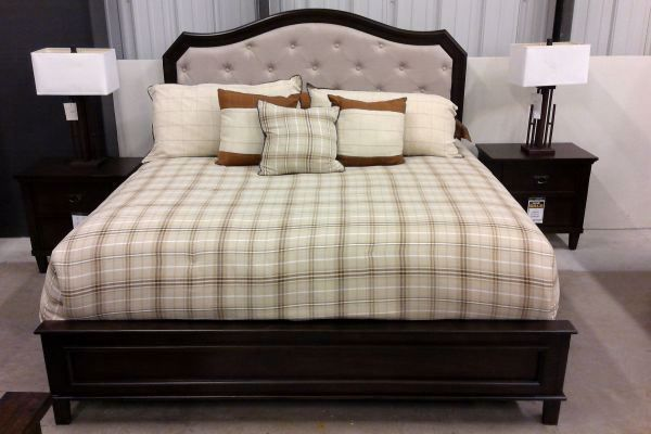 Picture of WASHED WALNUT QUEEN UPHOLSTERED PANEL BED