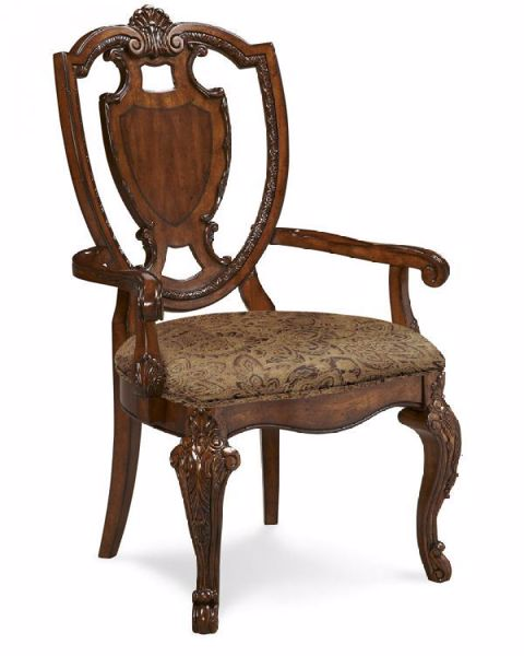 Picture of OLD WORLD SHIELD BACK ARM CHAIR