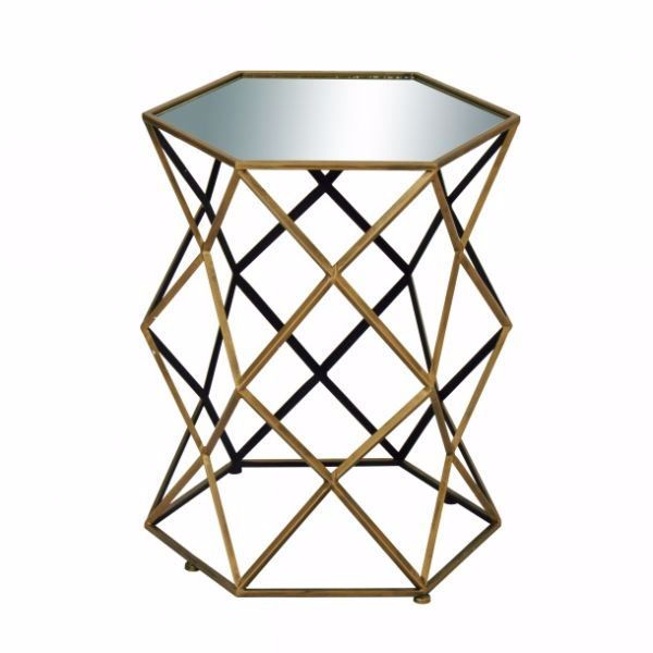 Picture of METAL AND MIRROR ACCENT TABLE
