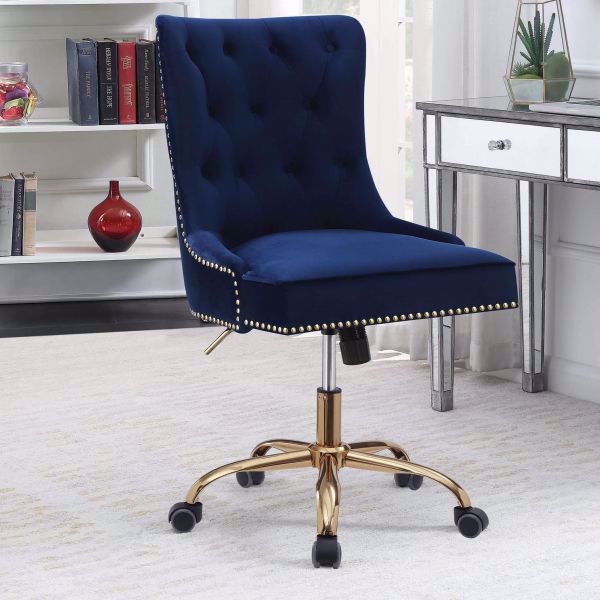 Picture of MODERN BLUE VELVET OFFICE CHAIR