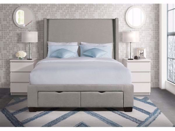 Picture of MAGNOLIA QUEEN UPHOLSTERED BED GREY