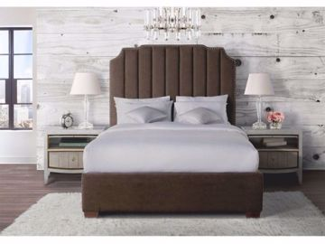 Picture of HARPER QUEEN UPHOLSTERED BED BROWN