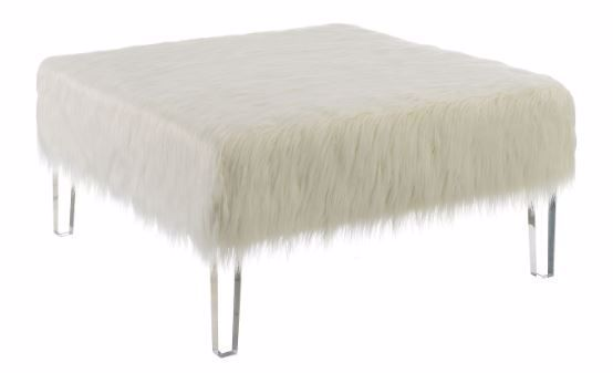 Picture of WHITE FUR ACCENT OTTOMAN