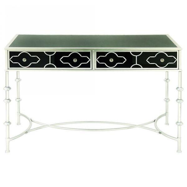 Picture of SILVER AND BLACK VANITY DESK