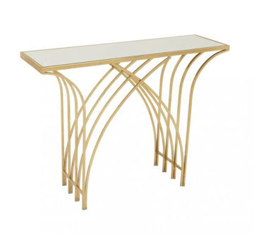 Picture of MIRROR AND GOLD CONSOLE TABLE