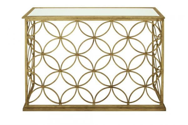 Picture of METAL AND GLASS GOLD CONSOLE TABLE